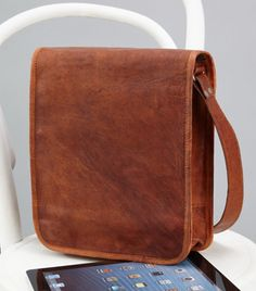 New Leather Cross Body Bags for Ipad, tablet books etc.  #LeatherLove #HighOnLeather #Vitnage #Handmade