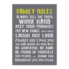 Toile décorative Family Rules   Gris et blanc   50 x 2,5 x 70 cm