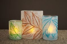 Leaf Rubbings-Have your children make these very cute candle votives for your table. They add a beautiful touch and the kids will love that they made them. Instructions on site. @ Home Made Simple.
