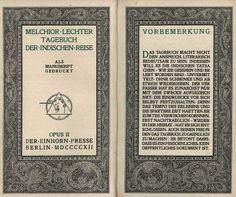 Melchior Lechter - Tagebuch der Indischen Reise. 1912