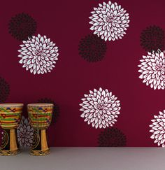 Flower painting for funky flower stencils category, stencil designs, Wall Painting Decor, Painting Frames, Wall Art Decor, Painting Stencils, Painting Shelves, Wall Stenciling, Painting Textured Walls, Stencil Wall Art, Painting Doors