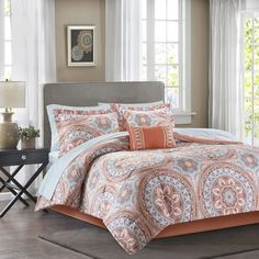 Luxury Coral Aqua Medaliion Pattern Comforter Bedding Set AND Matching Sheet Set #Contemporary