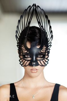 Winged mask in black. #raven
