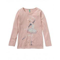 T-shirt maniche lunghe, girocollo, in cotone, con spacchetti laterali, dietro leggermente stondato. Stampa frontale.3QT6C1137 pink