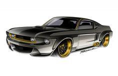 Custom render by ragle design Restomod Mustang, 67 Mustang, Mustang Boss, Mustang Fastback, Car Design Sketch, Car Sketch, Hot Wheels, Custom Muscle Cars, Ford Fairlane