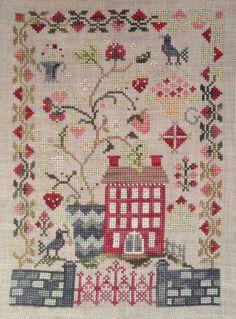 Strawberry Fields Forever (Blackbird Designs) Cross Stitch Sampler Patterns, Cross Stitch Samplers, Cross Stitch Charts, Cross Stitch Designs, Cross Stitching, Cross Stitch Embroidery, Hand Embroidery Projects, Blackbird Designs, Cross Stitch House
