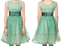 50s Party Dress BOW Prom Mini 60s Mad Men White Green Striped 1950s Formal Full Skirt Vintage 1960s Cocktail Evening Empire Extra Small XS