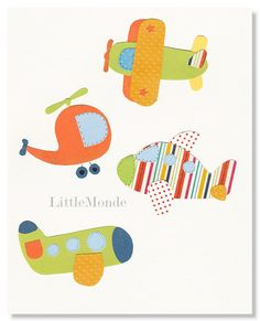 Airplane Nursery Prints Baby Boy Nursery Art by LittleMonde