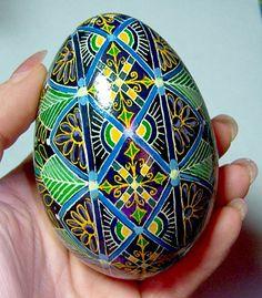 Egg, Pysanka, Peacock, Feathers, Ukrainian Easter Egg, Batik decorated Goose Egg, Birds of a Feather Ukrainian Egg