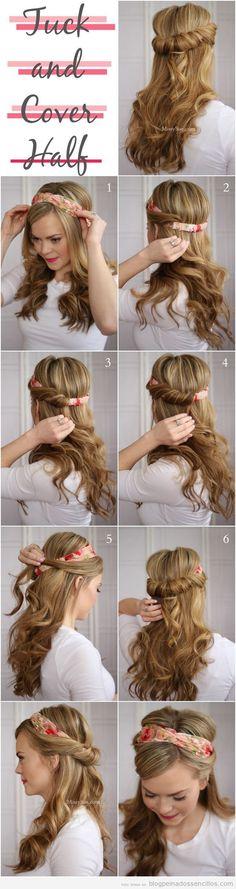 Tutorial para aprender a hacer un peinado sencillo con diadema o pañuelo, estilo boho