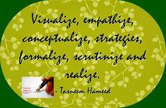 Visualize, empathize, conceptualize .........