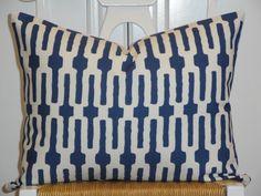 Decorative Pillow Cover  - 14 x 18 - Accent Pillow - Throw Pillow - Indigo - Blue - White - Lumbar Pillow. $36.00, via Etsy.