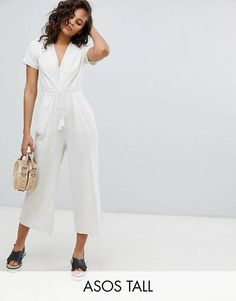 d646aa82c19 ASOS DESIGN Tall Cotton Embroidered Jumpsuit With Tassel Boiler Suit