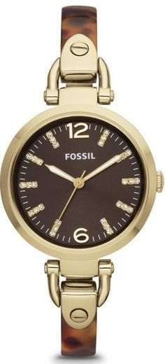 Fossil Watches, Women's Georgia Three Hand Stainless Steel And Resin Watch - Tort #ES3365