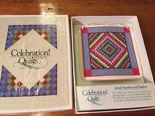 Celebration of American Quilts Ceramic Tile Ornament ~ Vintage Amish Sunshine An