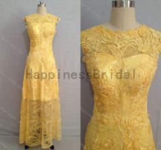 Gold Lace prom dress with appliqueprom von HappinessBridal auf Etsy