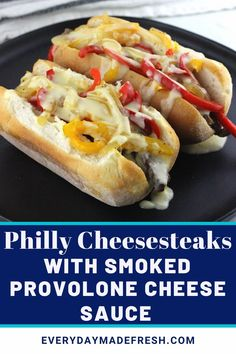 This is no ordinary cheesesteak here. This is The Best Philly Cheesesteak Recipe with Provolone Cheese Sauce.  Ribeye steak, caramelized onions and bell peppers topped with a gooey melty finger licking good cheese sauce! Quick Beef Recipes, Easy Dinner Recipes, Delicious Recipes, Great Recipes, Easy Meals, Best Philly Cheesesteak, Cheesesteak Recipe, Good Food, Yummy Food