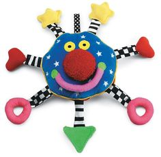 Baby Toy Travel Activity Squeakers Stroller Big Smiling Face Soft Toy 6 Inch New #ManhattanToy