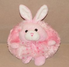 "Best Made Toy Pink White Bunny Rabbit Round Plush Stuffed 8"" Polka Dot Bow…"