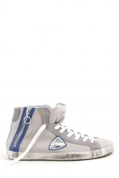 Philippe Model Sneakers bike sasso   bluette - high sneakers made of  leather and suede in 797c09c5e0a