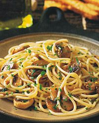 Spaghettini with Mushrooms, Garlic, and Oil - Vegan