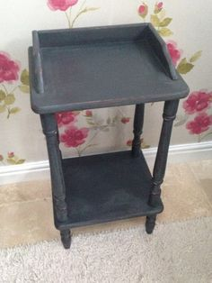 Shabby chic telephone plant table, french country farmhouse, hand-painted Annie Sloan 'Graphite' side/lamp/console/telephone/plant