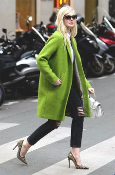 Love that green coat, green coat, lime green classic style coat,