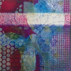 Niki Cotton Art - Gelli Printing - using my gelli plate as a starting point and making pieces of abstract mono printing.