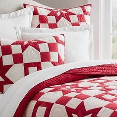 A cozy patchwork quilt & sham set with subtle star patterning. | 32 Christmas Decorations You'll Want To Keep Up All Year