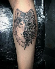 #tattoo #tatuagem #ink #inked #bodymodification #alineymarques #blackandwhite #wolf #geometric