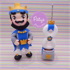 Topo de bolo Rei Azul - Clash Royale - Festa Infantil - Paty's Biscuit