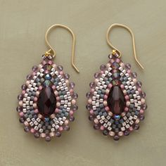 "MOSAIC EARRINGS -- Like small works of art, these handcrafted Miguel Ases bead mosaic earrings combine amethyst, quartz and miyuki beads to dazzling effect. 18kt goldfilled wires. Handmade in USA. Exclusive. 1-3/4"" dia."