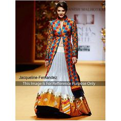 Bollywood Actress Jacqueline Frenandez in off white multicolor bollywood lehenga in raw silk, satin georgette.