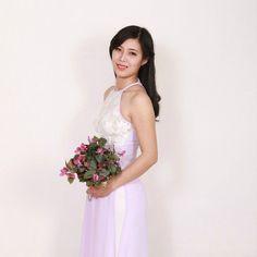 Lace Ao Dai Vietnam, Silver Chiffon and Lace, White Satin Pant, Sleeves Less…