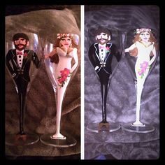 Bride and Groom Hand Painted Wine Glasses These are hand painted bride and groom wine glasses. 3D boobs on the woman adds a unique design twist! Brown haired and shoes man with black tux. Grecian style woman with reddish brown hair and pink flowers. Adorable for any married or engaged couple! Never been used. Hand wash. **No PayPal and may bundle** **NO TRADES** Unknown Other