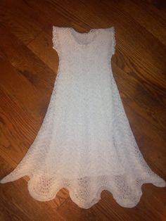 Knitted Christening Gown in Feather and Fan