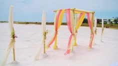 Country meadows beach canopy featuring coral, lime & lemon colored fabric