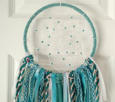 Turquoise Boho Dream Catcher Bohemian Blue Nursery Wall Art Room Decor Hippie