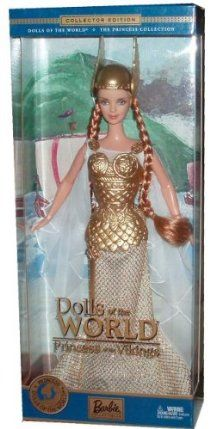 """Barbie 2003 Collector Edition Dolls of the World Princess Collection - Princess of the Vikings Doll with Gown, Helmet, Shoes, Doll Stand, """"Passport"""" and Certificate of Authenticity by Mattel. $31.95. Doll measured approximately 12 inch in height. For age 3 and up. Collector Edition from the Dolls of the World Princess collection. Includes : Princess of the Vikings Doll with Gown, Helmet, Shoes, Doll Stand, """"Passport"""" and Certificate of Authenticity. Inspired by the legendary Nord..."""
