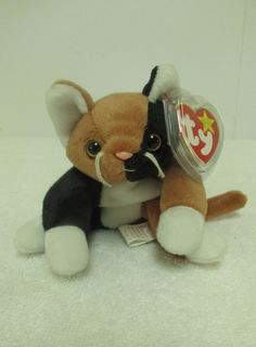 Ty Original Beanie Baby Chip Brown Black Cat  Bean Bag Plush Stuffed Toy Animal  #Ty