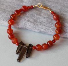 Orange Lace Agate and Smoky Quartz Gemstones Bracelet by ILgemstones on Etsy