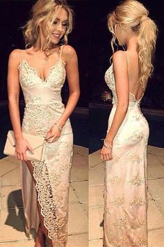 V neck Prom Dresses,Spaghetti Straps Prom Dresses,Lace Prom Dresses,Long Prom Dress,Front Split Prom Dress,Sexy Party Dresses