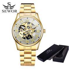 SEWOR Fashion Brand Skeleton Watch Men Clock Luxury Gold Hand Wind Mechanical Full Steel Watch Business Gift Man Wrist Watch