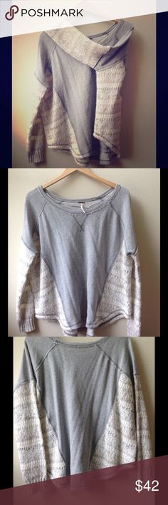 Free People Scoop Neck Sweater This beautiful sweater is a thick cotton blend and is a perfect cozy addition for your winter sweater collection. Scoop neck and a knitted pattern on the arms and sides. Size small. Gently loved condition with no rips/no holes/no stains. EXCELLENT like new condition! Free People Sweaters Crew & Scoop Necks