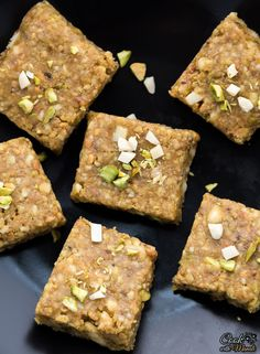 Easy and delicious pista badam burfi - a fudge made with pistachios, almond and ghee! This Indian sweet is perfect for any festive occasion! Indian Dessert Recipes, Indian Sweets, Indian Snacks, Sweets Recipes, Cooking Recipes, Indian Recipes, Snack Recipes, Healthy Granola Bars, Homemade Granola Bars