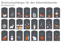 Gift tags to decorate your home made advent calendar with