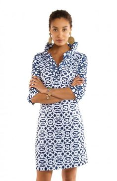 12d9782ee3b Gretchen Scott Ruffneck Dress in Rio Gio Print Blues Preppy Brands