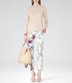 Olivia Sugar Floral-print Trousers - REISS