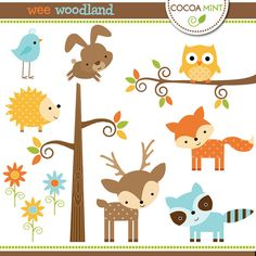 Woodland clip art- for appliqué Woodland Animals Theme, Woodland Baby, Woodland Creatures, Woodland Nursery, Forest Animals, Wild Animals, Baby Deer, Cute Baby Animals, Baby Quilts