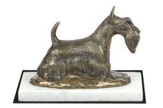 Made of cold cast bronze. Scottish Terrier, Terrier Dogs, White Marble, It Cast, Bronze, Cold, Statue, Artist, Scottish Terriers
